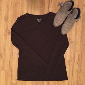 Merona Long Sleeve Brown Tee Size XXL